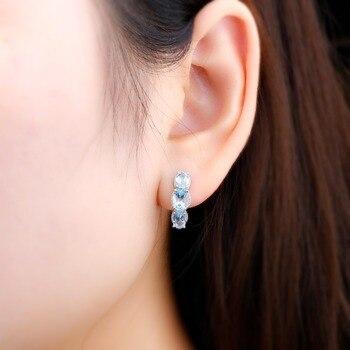 Hutang 925 Silver Hoop Earrings for Women, 1.48ct Blue Topaz Gemstone Earrings Classical Elegant Fine Sterling Silver Jewelry 1