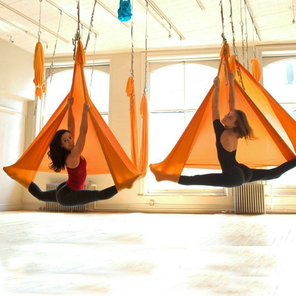 5 mètre ensemble complet Aérienne Anti-gravité Yoga Hamac Swing De Yoga + 1 paire mousqueton + 1 paire extender corde + 1 paire bague de montage