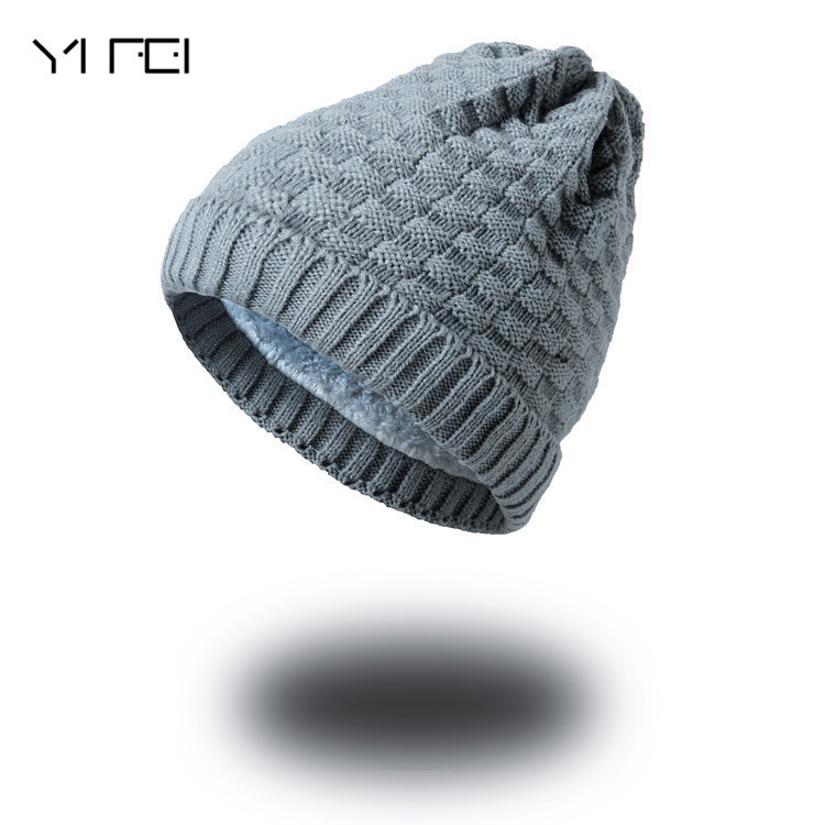 YIFEI Women Knitted Wool Bonnet Plus Velvet Soft Beanie Autumn Man Cap Gorros Caps For Man Turban Hats Men Winter Beanies 2017 men women hats winter beanie velvet beanies soft snapback caps bonnets en laine homme gorros de lana mujer soft solid color