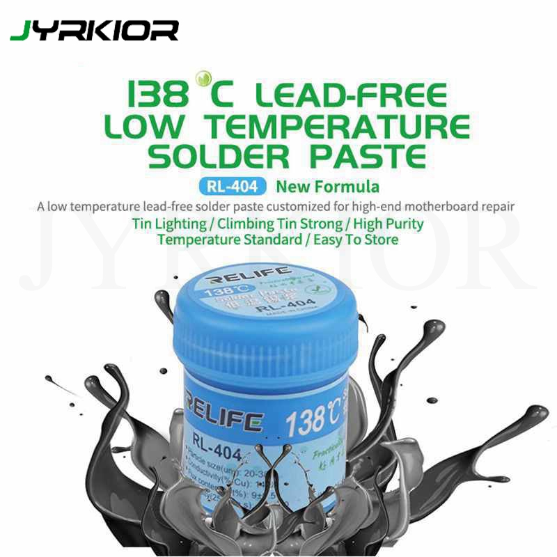 RELIFE RL-404 Lead-free Low Temperature 138℃ Solder Flux Paste Soldering Tin Cream Welding Fluxes For PCB BGA/SMD Welding Fluxes