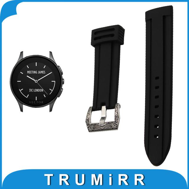 22mm Faixa De Relógio de Borracha de Silicone para o Vetor Luna/Meridian Esculpida Em Aço Inoxidável Pré-v Bracelete de Pulso cinto Pulseira Preta