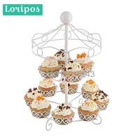 Metal Iron Cake Cup Holder Basket Double Tray Non folding Display Rack Storage Holders Table Shelf Stand Dessert Cake Display