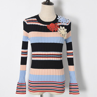 2017 Autumn Panelled Stripe Pattern Appliques Knitwear Jumper Slim Fashion All Matched Jacquard Weave Jersey Round
