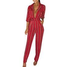 Overalls for Women jumpsuit Stripe Long Sleeve Playsuit Clubwear Straight Leg Party Jumpsuit combinaison pantalon femme