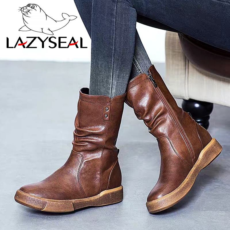 LazySeal Mid Calf Boots Plus Size 35-43 Zapatos Mujer Zipper Leather Shoes Woman Military Flat Heel Motorcycle Boots Winter BootLazySeal Mid Calf Boots Plus Size 35-43 Zapatos Mujer Zipper Leather Shoes Woman Military Flat Heel Motorcycle Boots Winter Boot