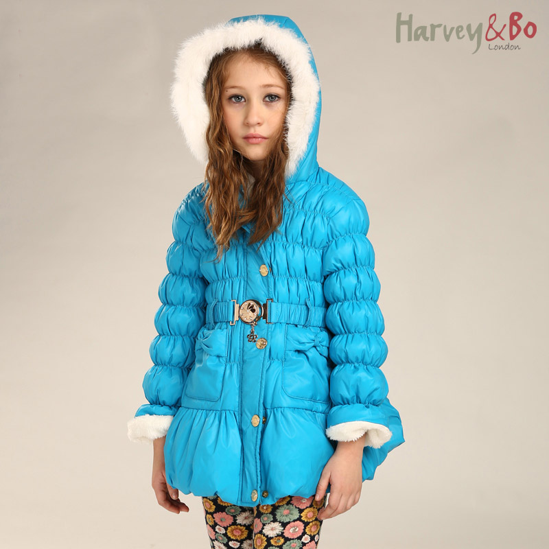 Harvey&Bo new fashion girls kids belt coat hoodie rabbit fur collar jacket children winter clothing girl outerwear - harvey&bo store