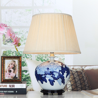 Blue Floral Porcelain Table Lamps Cloth Lampshade For Room Decoration Ball Ceramic Desk Lights Home Lustre