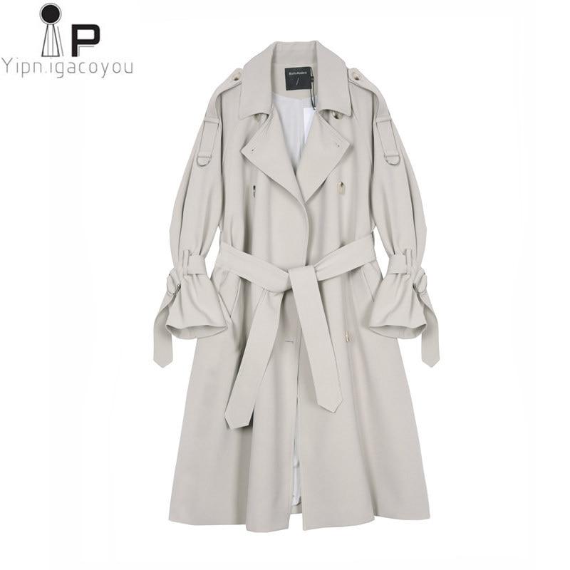 High Quality Long Coat Womens Windbreaker Overcoat Autumn Female Long Sleeve Women   Trench   Coat Outerwear Loose Female Streetwear