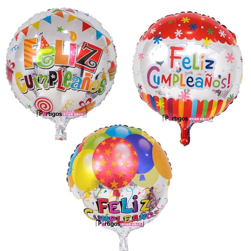 Image 3 - 100pcs Wholesale 18 inch Spanish Happy Birthday Foil Balloons Mix  Style Birthday Party Decoration Helium Inflatable Balao GlobosBallons