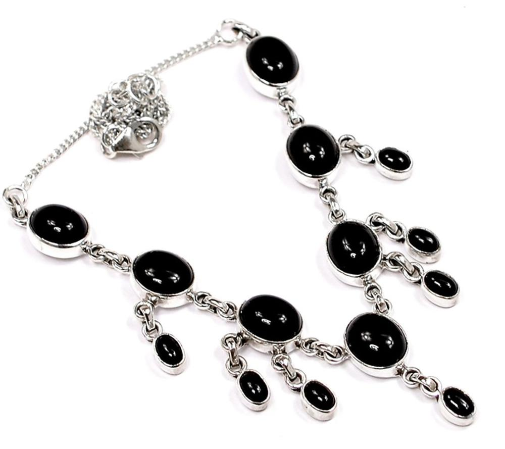 Lovegem Genuine Black Onyx Necklace 925 Sterling Silver, NE0003Lovegem Genuine Black Onyx Necklace 925 Sterling Silver, NE0003