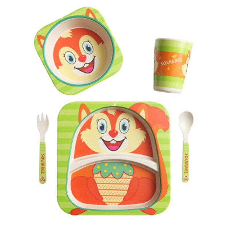 Ideacherry 5 teile/satz Baby Bambus Faser Geschirr Set Baby Cartoon Platte Trennung Platte Schüssel Gabel Löffel Tasse Set für Fütterung pflege