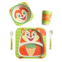 Ideacherry 5 шт./компл. детские бамбуковые волокна набор посуды Детские Мультяшные пластины разделительная пластина чаша вилка ложка чашка набор для забота о кормлении
