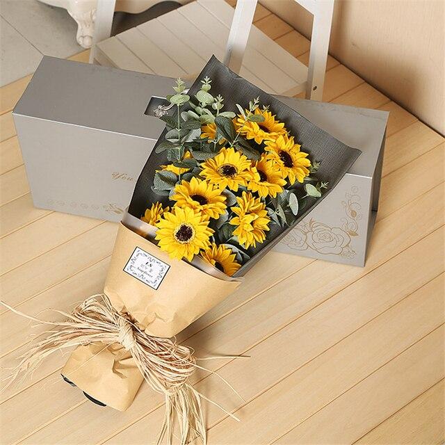 11Pcs/Box love Sunflower Soap Flower Immortal Bouquet Valentine\'s ...