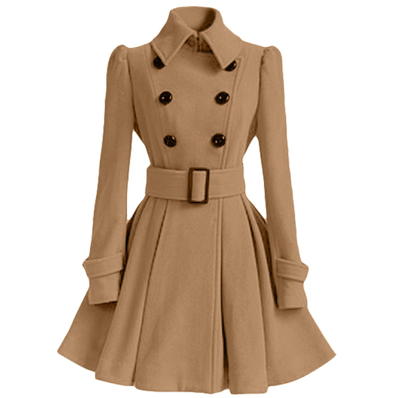 Осенне-зимнее женское пальто, модный тонкий винтажный двубортный пиджак, женский элегантный длинный теплый красный блейзер для женщин - Цвет: Хаки