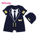 0-24 months Gentleman Newborn baby Boys Summer Clothing Sets Blue Navy Sailor uniforms and Hat Outfits free shipping baby cotton