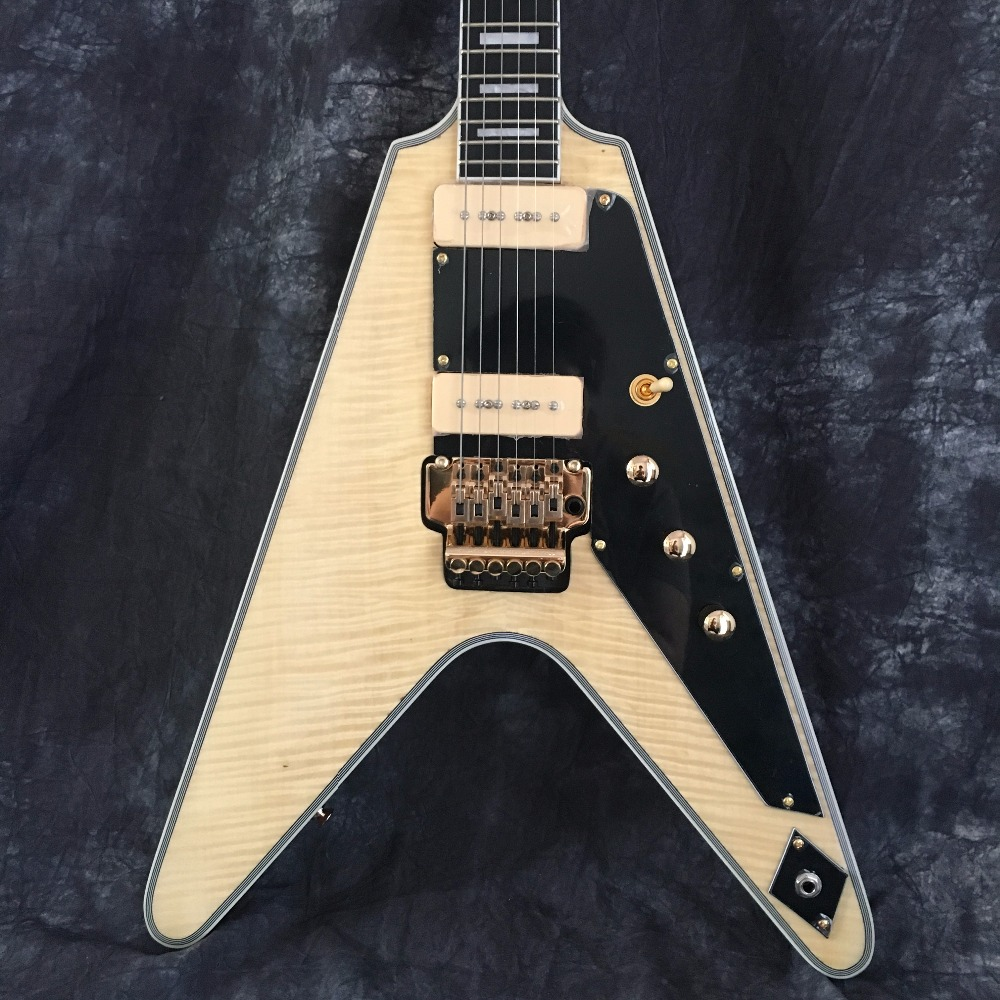 цены China Flying V Guitars. electric guitar. Good sound quality flying v electric guitar natural color free shipping