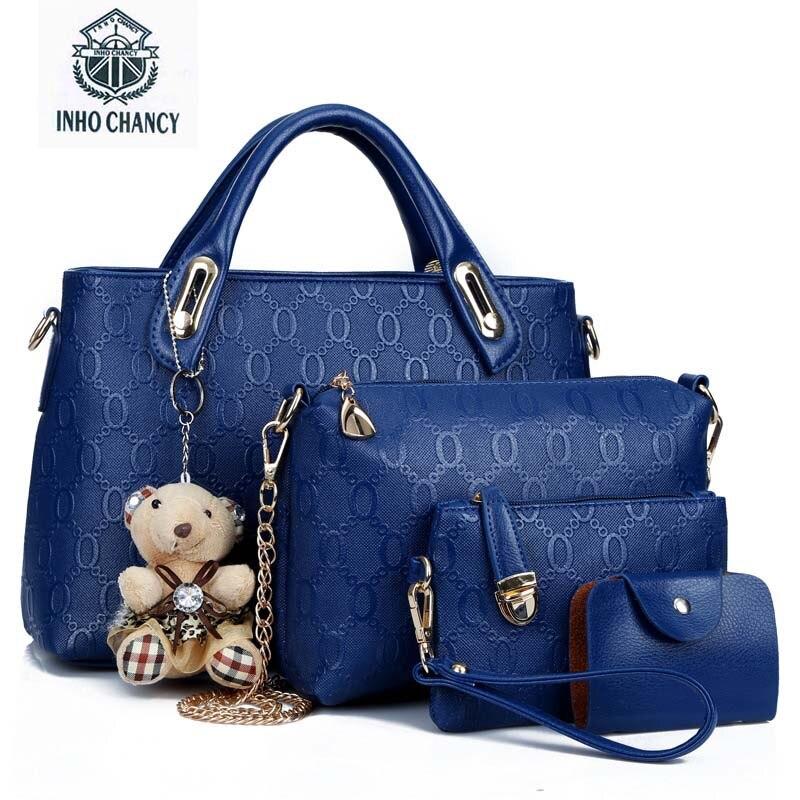 2017 New Luxury Women Bag 4 Pieces Set Bear bag Fashion handbag Shoulder Messenger bag PU Leather Composite Bag Women chic minimalist faux leather 2 pieces shoulder bag set