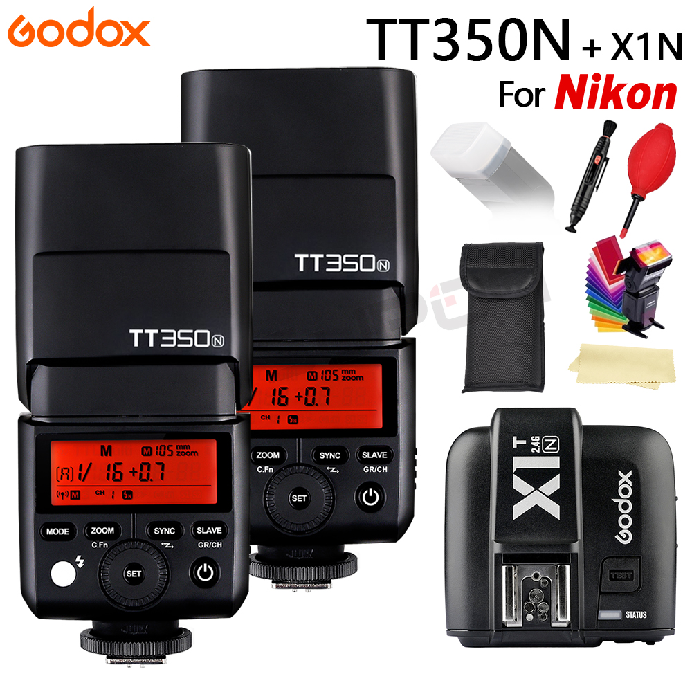 Godox TT350 Flash Speedlite TT350N TTL HSS1/8000S GN36 Camera Flash Pocket lights TT350-N + X1T-N For Nikon godox v860iic v860iin v860iis x1t c x1t n x1t s hss 1 8000s gn60 ttl flash speedlite 2 4g transmission godox softbox filter