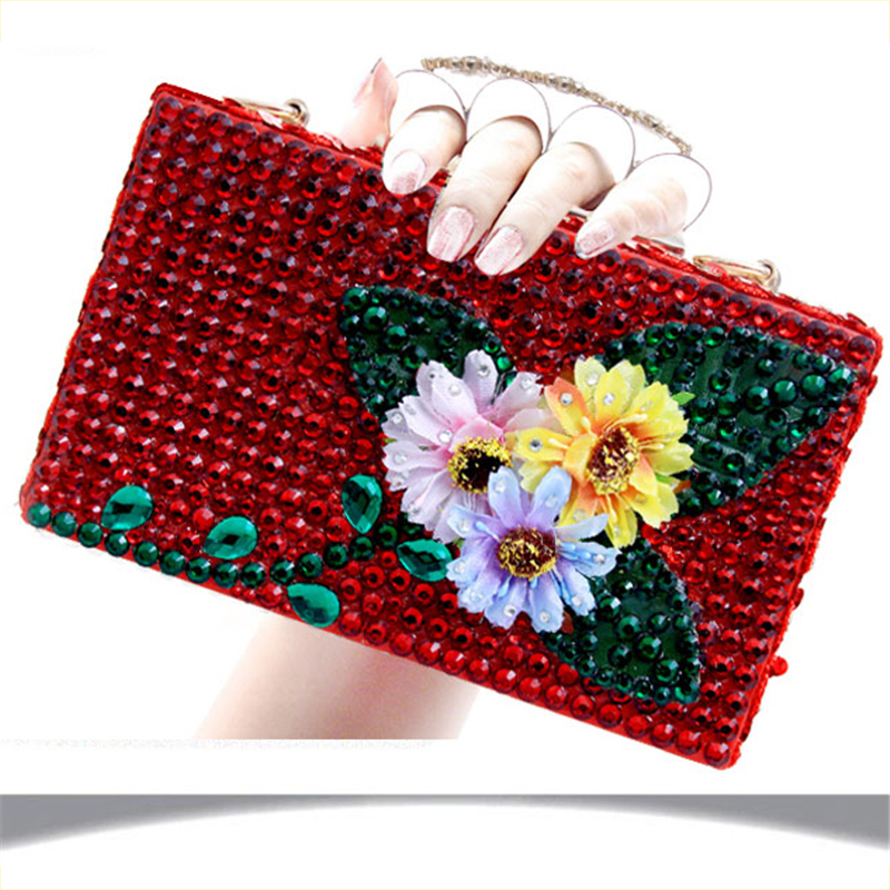 Women Clutch Bags Red Crystal Luxury Handbags Leather Finger Ring Evening Bag Wedding Bride Purse Ladies Small Shoulder Bags diamonds small clutch purse crystal beaded handbags chain shoulder evening finger ring bags for wedding party bag red gold blue