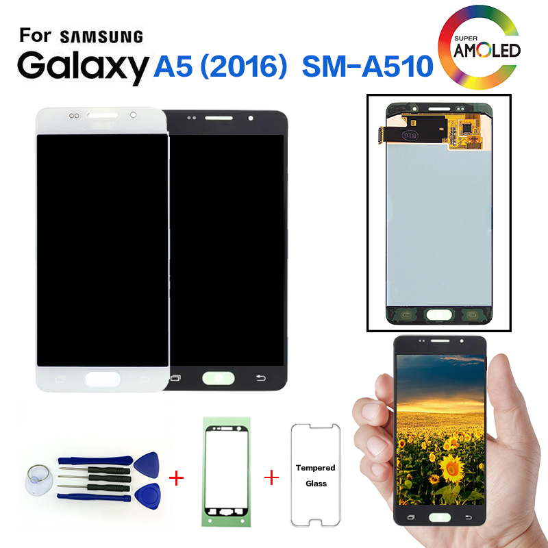 Original For <font><b>SAMSUNG</b></font> <font><b>Galaxy</b></font> A5 2016 <font><b>A510</b></font> SM-A510F <font><b>LCD</b></font> Display Screen replacement for <font><b>Samsung</b></font> A510FD A5100 display <font><b>lcd</b></font> screen image