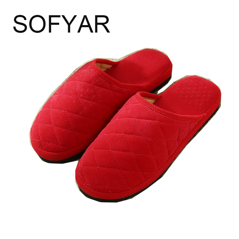 New Fashion Soft Sole Autumn Winter Warm Home Cotton Plush Slippers Women Indoor Floor Flat Shoes Girls Gift flat with free size vanled 2017 soft sole spring autumn winter warm home cotton plush striped slippers women indoor floor flat shoes girls gift