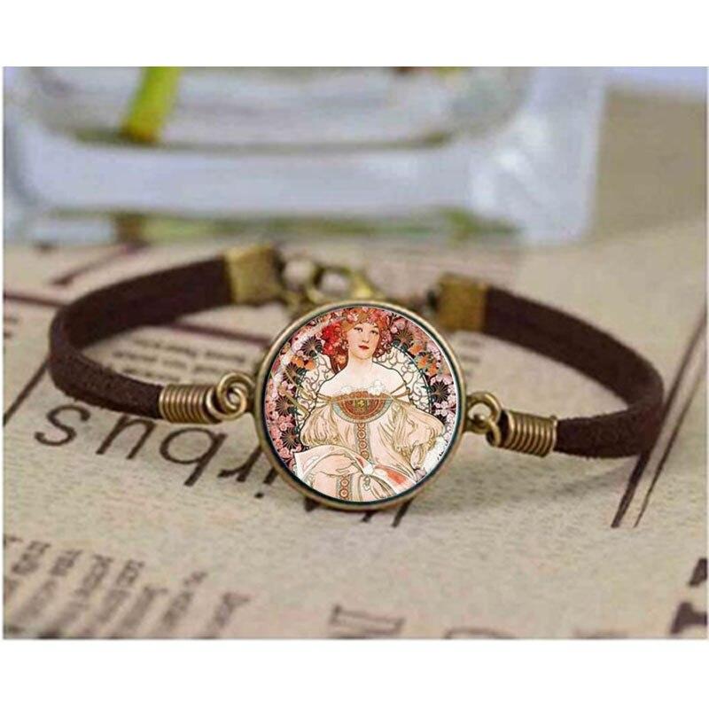 Bracelet d'art Alphonse Mucha, breloque Art Nouveau avec bracelet, bracelet Cabochon Photo en verre Bronze