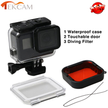 Tekcam for Gopro accessories Touchable 45M Waterproof Case Diving Filter Diving Housing For Gopro Hero 5 hero 6 go pro hero6/5