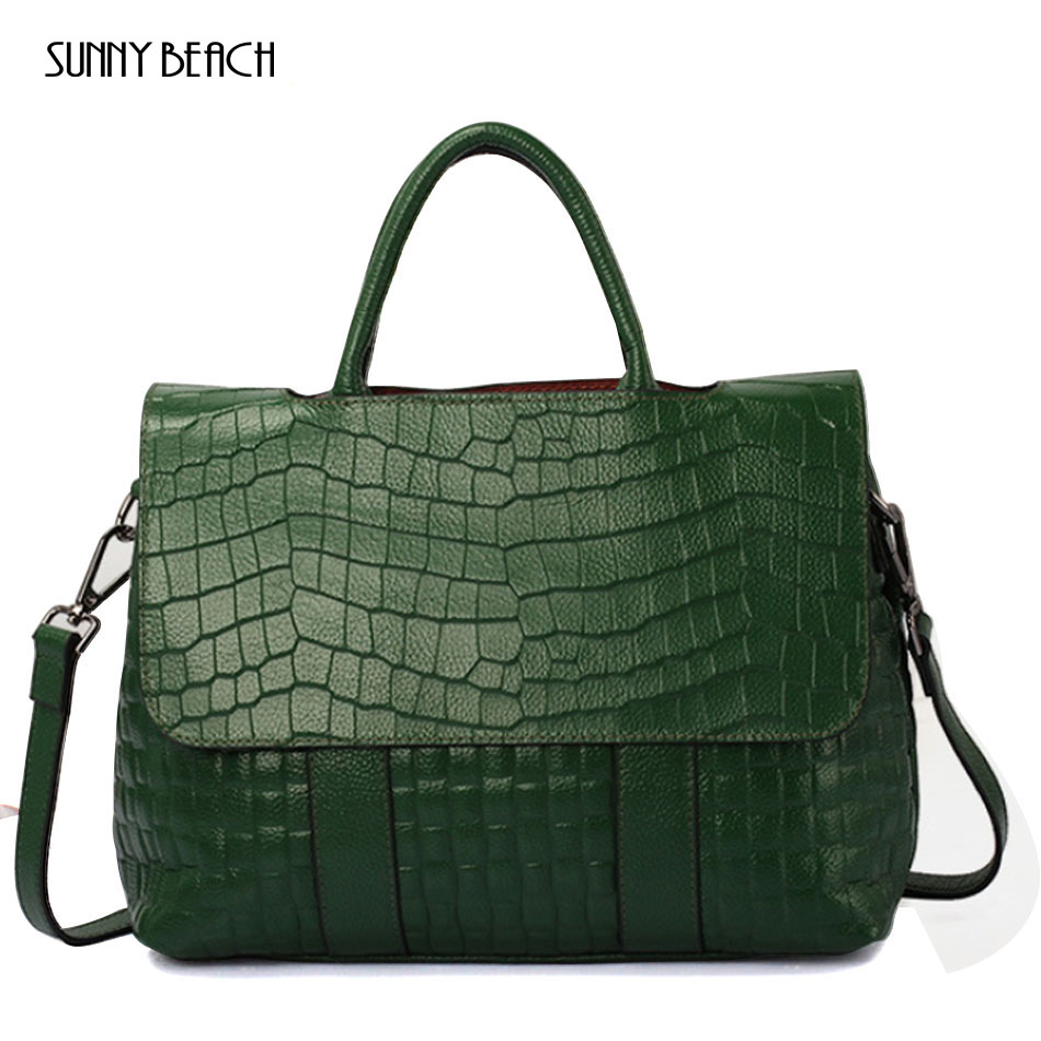 SUNNY BEACH Genuine leather bag famous brands women messenger bags women handbags designer Alligator women bag shoulder bag monf genuine leather bag famous brands women messenger bags tassel handbags designer high quality zipper shoulder crossbody bag