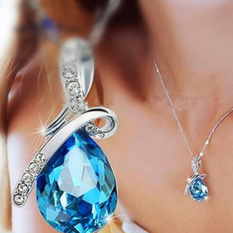NK548 Hot Selling Silver Plated Jewelry Blue  Cubic Zircon Crystal Water Drop Pendant Necklace For Women Wedding Acessories