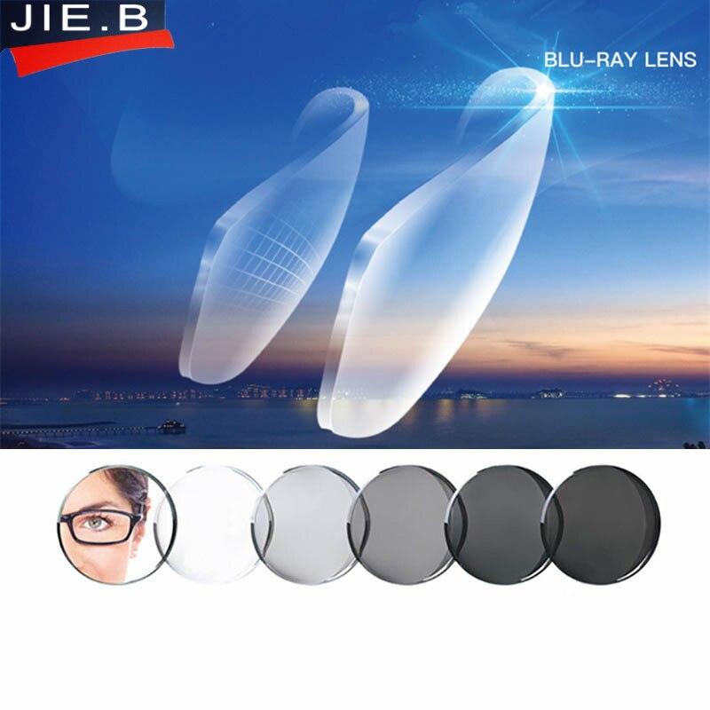 1.56 1.61 1.67 indice myopie asphérique lunettes lentille optique verres de Prescription Anti bleu Ray photochromisme lentilles