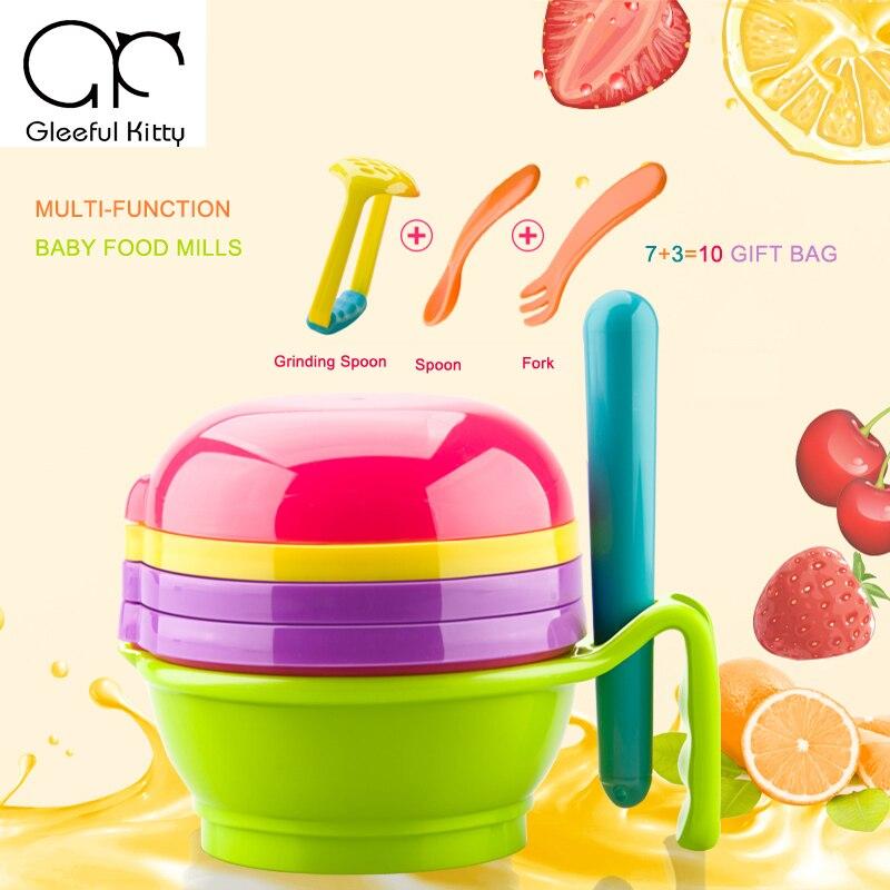 2019 10PCS/set Feeding Baby Food Mills manual Baby Food Grinder for fruit and vegetables infantil de cocina Food Press Machine
