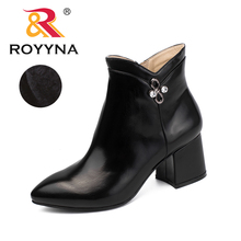 ROYYNA Women Ankle Boots Mid High Heels Short Boots 2018 Winter Pointed Toe Square Heel Autumn Shoes Side Zipper Metal Decration 2015 winter autumn new arrive rhinestone mid calf boots women side zipper fashion round toe square heels shoes size 33 43 r974