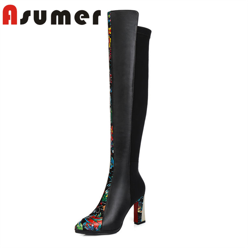 ASUMER 2018 NEW unique over the knee boots for women thick heels genuine leather boots fashion solid high heels boots size34-39ASUMER 2018 NEW unique over the knee boots for women thick heels genuine leather boots fashion solid high heels boots size34-39