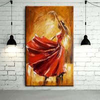 Free Shipping Hand painted Spanish Flamenco Dancer Oil Painting On Canvas Spain Dancer Dancing With Red Dress Oil Paintings