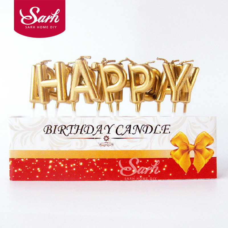 Gold Sliver Happy Birthday Letter Cake Party Festival Supplies Lovely Candles For Kitchen Baking Gift PD202