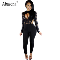 2017 Autumn Long Sleeve Bodycon Jumpsuit Black White Plaid Sheer Mesh Patchwork Keyhole Womens Sexy Club