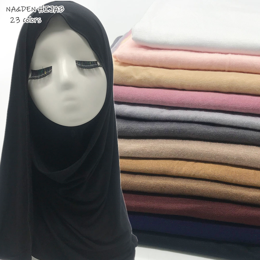 High quality plain Jersey Hijab scarf women muslim stretchy head scarf fashion breathable scarves Ramadan modest