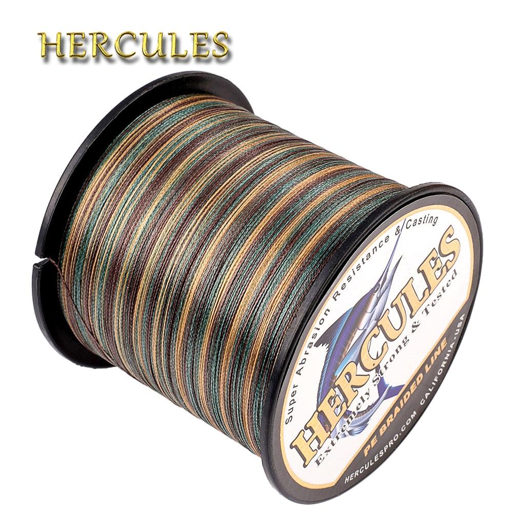 Hercules Carp Fishing Line 4 Strands Camo Braided Fishing Line 100M 300M 500M 1000M 1500M 2000M PE Pesca Saltwater Weave Cord цены