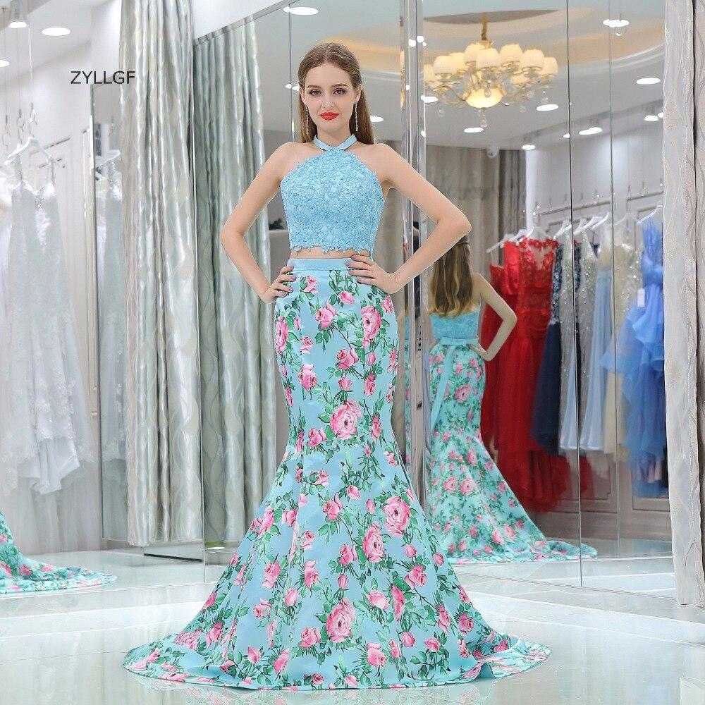 ZYLLGF корейский стиль платье для мамы Русалка Холтер шеи аппликации из бисера Vestidos Longos De Formatura Формальные Для женщин вечерние платье SL10