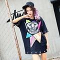 Skull print t shirt 2017 women punk sequins holes streetwear black loose rivets rings decoration clothing  loose style LT115