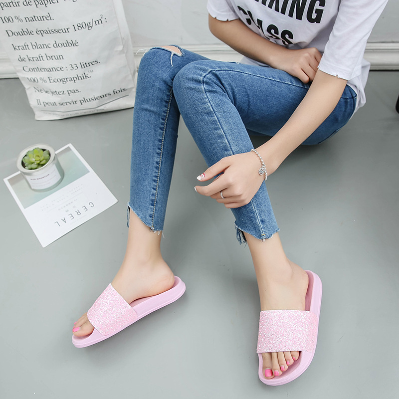 Women Slippers Home Indoor Woman Ladies shoes Slip On Slides Flat New Bling Fashion Female Casual Beach Flip Flops Sandal women slippers summer bling beach shoes sequined rivet fashion slippers female light flat platform non slip ladies shoes ald931