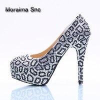 Moraima SNC бренд черный белый обувь с украшением в виде кристаллов с круглым носком туфли лодочки на платформе обувь escarpins Femme 2018 г. пикантные Обу