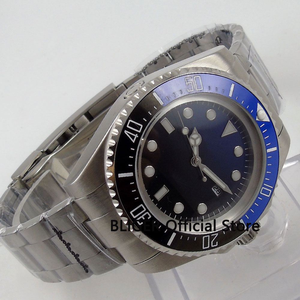 BLIGER 44MM Black Blue Sterile Dial Ceramic Bezel Mineral Glass Luminous Marks Solid MIYOTA Automatic Movement Men's Watch B72 b72