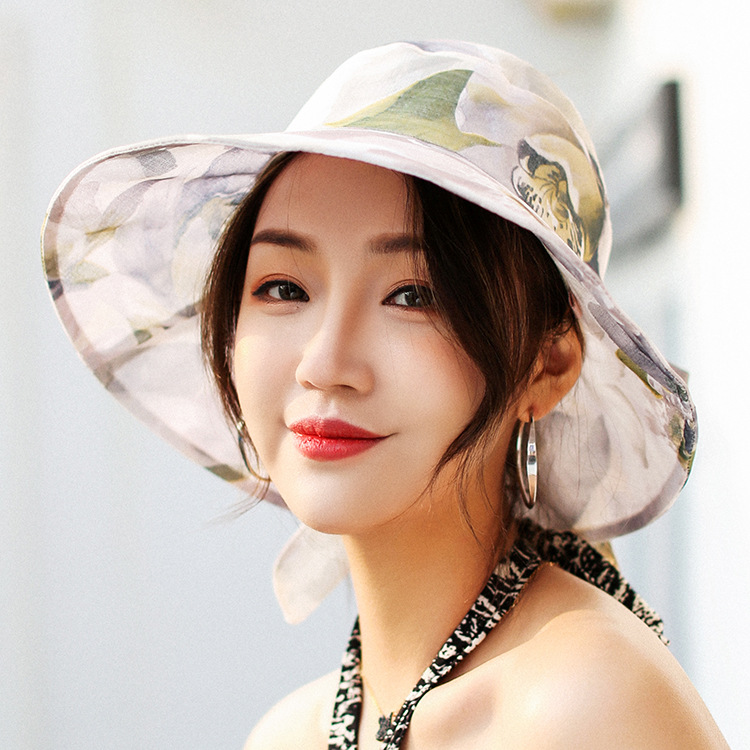 ce568050 Women Floppy Sun Beach Straw Hats Wide Brim Packable Summer Cap Bohemia  Flower Print Beach Hat For Holiday Travel-in Sun Hats from Apparel  Accessories on ...