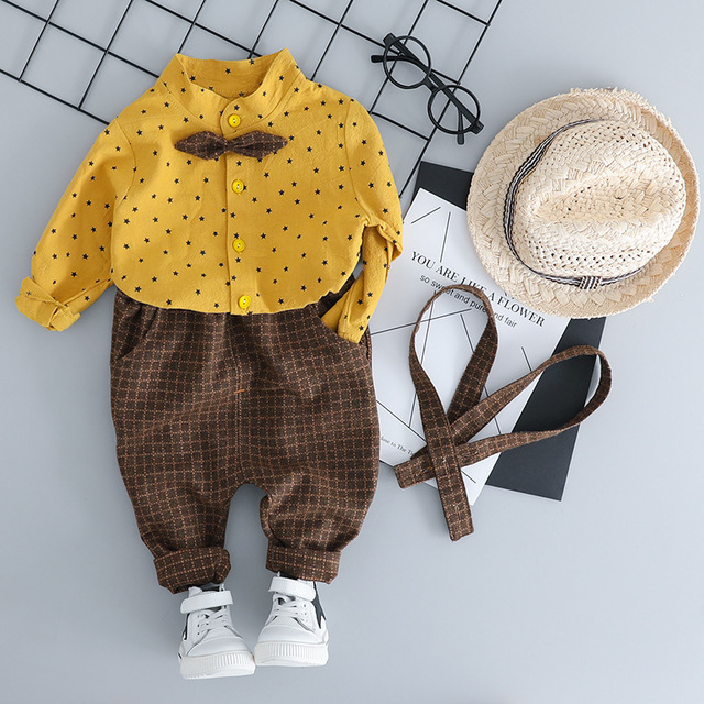 2018 New Toddler Children Clothes Suits Gentleman Style Baby Boys Clothing Sets Shirt Bib Pants Autumn Kids Infant Costume 3M-3T