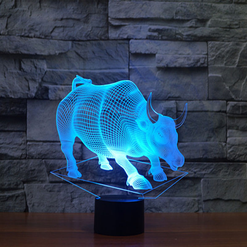 Bull Shape table Lamps USB Charge or 3*AAA Battery Led Night Light Novelty Night Lamp Christmas Gifts for Kids