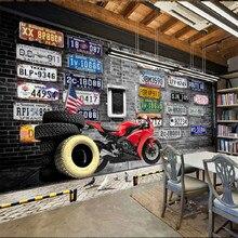 Europe America nostalgic retro brick plates motorcycle tire large mural 3D wallpaper for walls 3d bedroom living room TV stereo