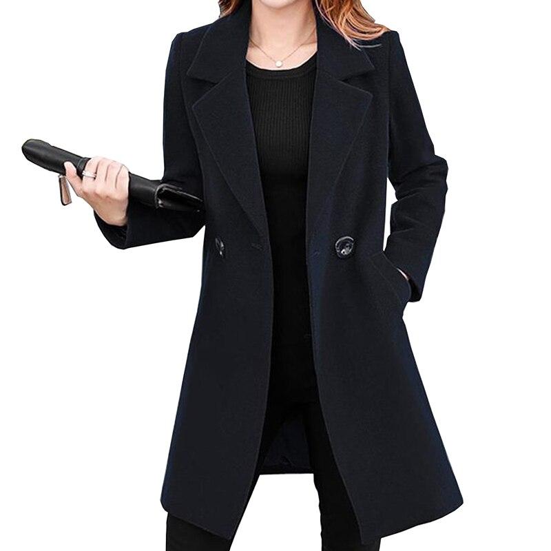 Winter Slim Elegant Large Size Women Woolen Jacket 2019 New Casual Medium Long Solid Color Long Sleeve Women Woolen Jacket YF068
