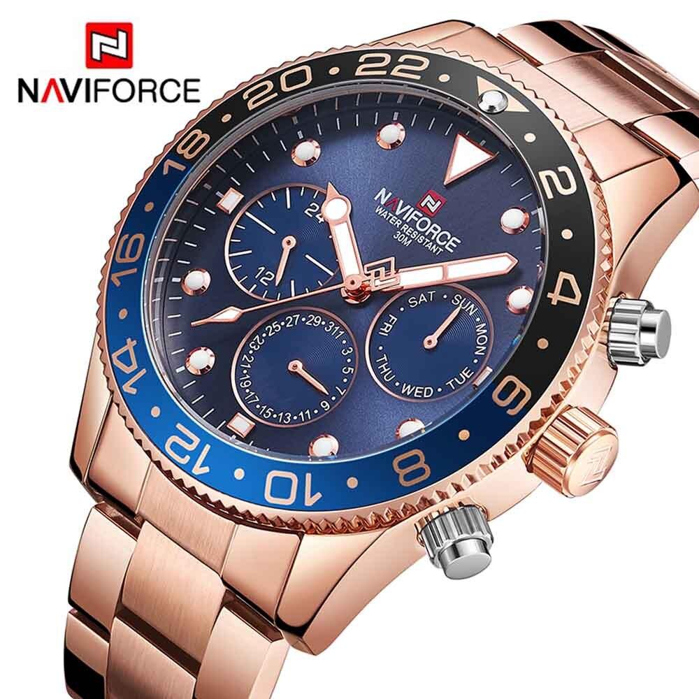 NAVIFORCE 9147 De Luxe Hommes Quartz Analogique Sport Montre De Mode Militaire Extérieure Étanche 24 Heures Date Semaine Horloge Hommes Montre-Bracelet