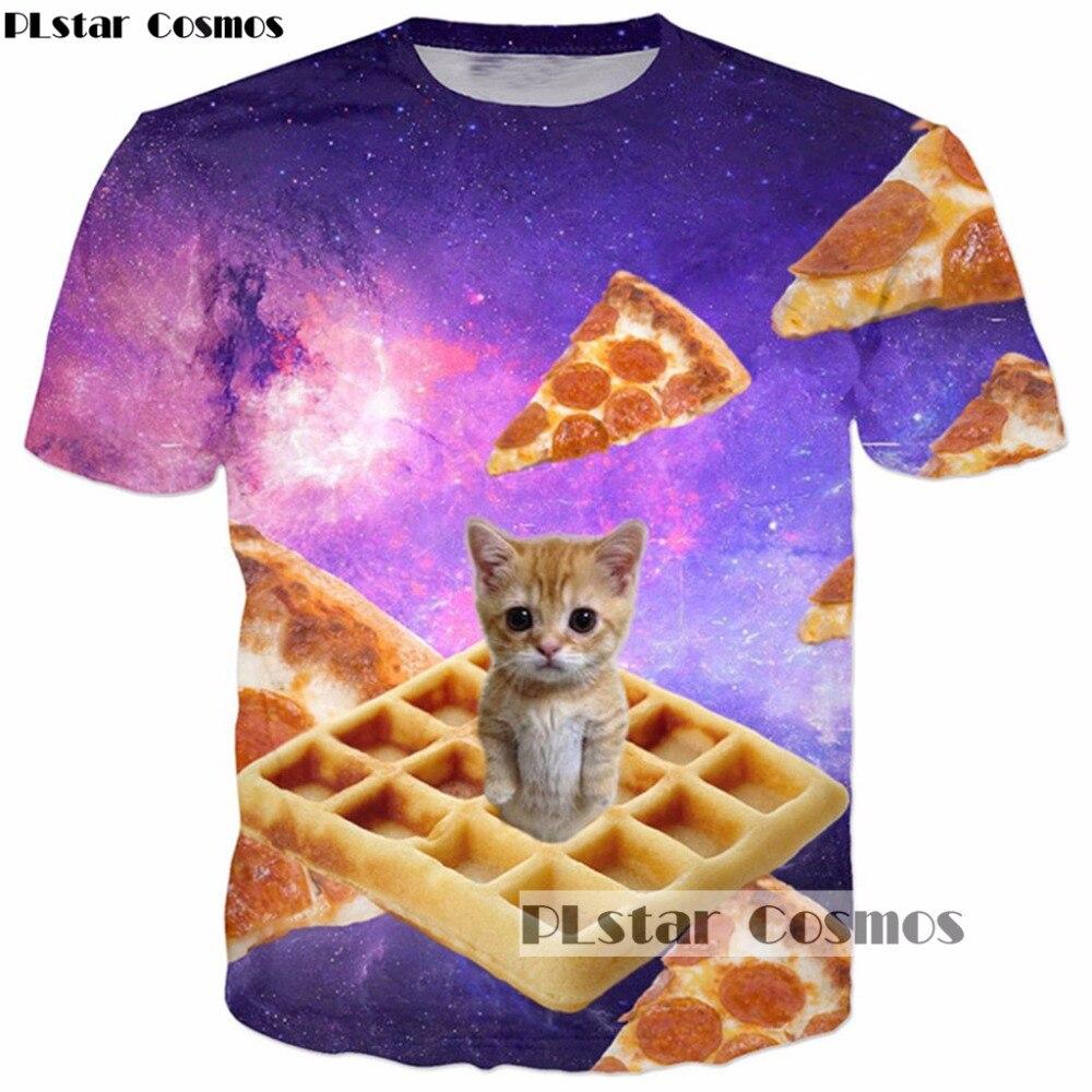 100% Wahr Plstar Cosmos 2017 Sommer Neue Mode Galaxy Raum 3d T-shirt Nette Katze Pizza Druck Männer Frauen T Shirts Harajuku T Shirts